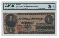 Low serial number 5 graces the moderately circulated example of this early Legal Ace that displays excellent color and an overall pleasing appearance. A few specks of residue on the back and some minor splits account for PMG's Net designation.
