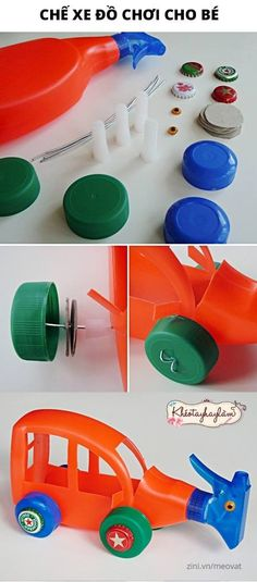 homemade toys from recycled plastic bottles Kids Crafts, Projects For Kids, Diy For Kids, Diy And Crafts, Craft Projects, Recycled Toys, Recycled Crafts, Plastic Bottle Crafts, Recycle Plastic Bottles