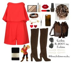 Gaston by disneyfashioneveryday on Polyvore featuring polyvore fashion style WithChic Falke ALDO Frye Bee Goddess Anna Lou of London Melissa Joy Manning Casetify Fitbit Yves Saint Laurent Elizabeth Arden Lime Crime MAC Cosmetics Stila Teva clothing