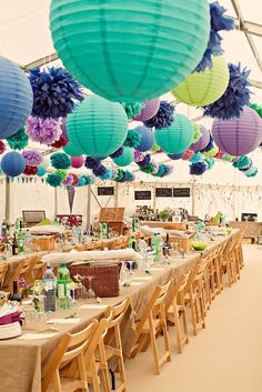 blue and purple paper lantern wedding reception