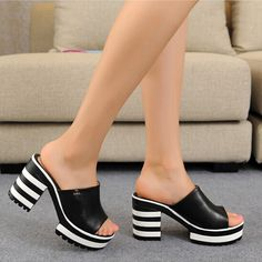 Nine Seven Faux FabricTransparent PVC Womens Square Toe Chic Mid Chunky Heel Cute Handmade Concise Slip On Women Slippers
