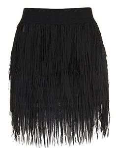 Fringe Bombshell Skirt: Features a stretch waistband for a custom fit, layers of velvety soft fringe cascading down both sides of the skirt, and a tonal liner to finish.