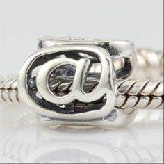 At Sign @ Authentic 925 Sterling Silver Beads Alphabet