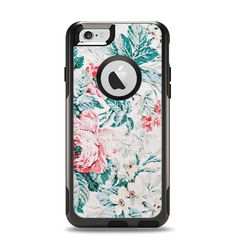 The Coral & Blue Grunge Watercolor Floral Apple iPhone 6 Otterbox Commuter Case Skin Set