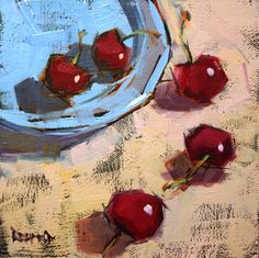 """Daily Paintworks - """"Lets Just Enjoy These Cherries"""" - Original Fine Art for Sale - © Cathleen Rehfeld Art Painting Gallery, Fine Art Gallery, Image Halloween, Vegetable Painting, Acrylic Painting Inspiration, Image Nature, Still Life Oil Painting, Fruit Painting, Daily Painters"""