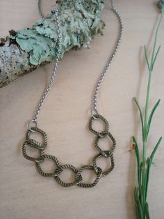 statement chain necklace bronze silver by kathywelshart on Etsy