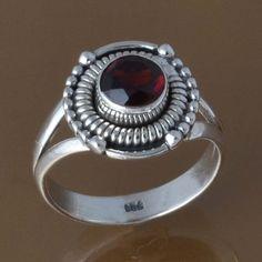 NEW DESIGNER 925 STERLING SILVER GARNET  RING 3.73g DJR8424 SZ-6 #Handmade #Ring