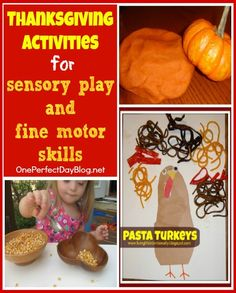Thanksgiving fine motor and sensory play ideas  @Pediatric Therapy Center-for all of our pins, please visit our page at pinterest.com/pedthercenter/