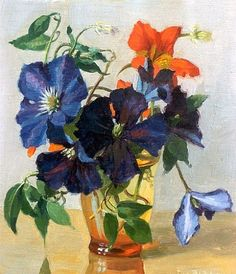 stilllifequickheart:    Johannes Bakker  Clematis in a Vase  Early 20th century