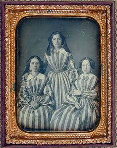 Daguerreotype of Three Women (probably sisters) in Striped Dresses, 1850s