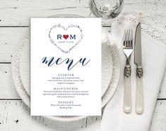 Navy Blue Wedding Menu Template Wedding Dinner Menu Rustic Vow Renewal Invitations, Kraft Wedding Invitations, Wedding Menu Template, Rustic Wedding Menu, Wedding Dinner Menu, Wedding Cales, Thank You Printable, Menu Cards, Blue Wedding