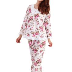 Hot Sale Long Sleeved Ladies Pajamas Set Cotton Pyjamas Women Pijama Floral Print Sleepwear Homewear Nightgown Asia/Tag M-3XL