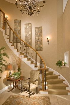 Staircase Wall Decor want a curved staircase so bad. | for the home | pinterest
