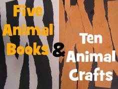 5 animal books and 10 animal crafts