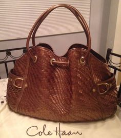 Cole Haan Genevieve Woven Leather Saddle Weave Tote Shoulder Hand Bag Purse EUC! #ColeHaan #TotesShoppers AMAZINGLY GORGEOUS!!! BEAUTIFUL GENEVIEVE WOVEN LEATHER DENNEY WEAVE LARGE DRAWSTRING BAG IN A STUNNING BRONZE BROWN / COPPER BROWN COLOR!!! RARE!!! ONLY ONE!!! SALE!!! WOW!!!