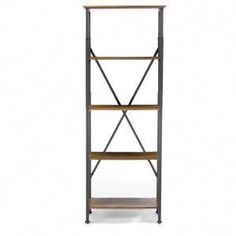 Baxton Studio Lancashire Wood and Metal Bookcase in Brown offers an industrial design to your home. Rustic Bookcase, Metal Bookcase, Wood Bookshelves, Open Bookcase, Etagere Bookcase, Furniture Sale, Cheap Furniture, Furniture Projects