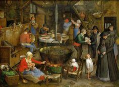 Визит в крестьянский дом. ок1597. 27х36. Музей истории искусств, Вена. Ян Старший (1568-1625) Брейгель