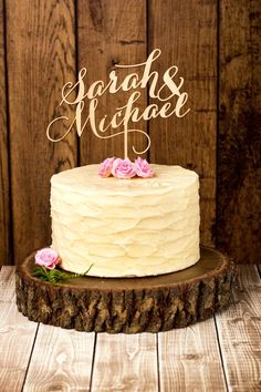 Mahogany cake topper by Better Off Wed #rustic #woodsy #caketopper #weddingcake #cakes