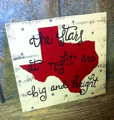 """Hand crafted wooden sign - """"the stars at night are big and bright"""" black lettering with a red Texas and gray stars - 15x15.75"""" on Etsy, $37.00"""