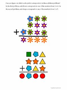 Two free printable math puzzles involving symbols and addition. Great for elementary math or anyone wanting a little brain exercise.