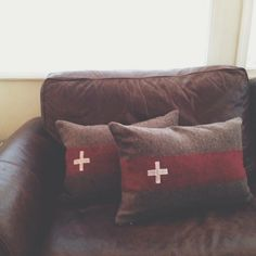 Vintage Swiss Army blanket into pillows