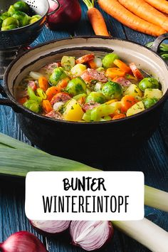 leckerer bunter Wintereintopf mit Mettwurst Rosenkohl Lauch Möhren Mettwurst Ka… Delicious colorful winter stew with sausage Brussels sprouts Leek carrots Mettwurst potatoes Stew Winter Christmas dishes to warm up Cold outside REWE Crock Pot Recipes, Sausage Recipes, Soup Recipes, Cooking Recipes, Healthy Recipes, Easy Recipes, Guisado, Stewed Potatoes, Christmas Dishes