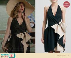 Emily's black two-tone ruffle front dress on Revenge.  Outfit Details: http://wornontv.net/30472/ #Revenge