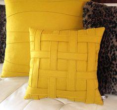 Mustard Yellow Pillow  Wool Felt Pillow  Handmade  Modern    Etsy