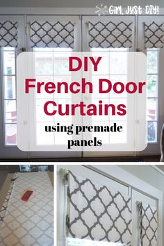 Learn how to make easy DIY French Door Curtains or panels with this step-by-step sew your own curtain tutorial. Make these budget-friendly DIY patio door curtains. Window Coverings, Window Treatments, French Door Curtains, Curtains For Doors, Mason Jars, Diy Home Decor, Room Decor, Beautiful Curtains, Farmhouse Side Table