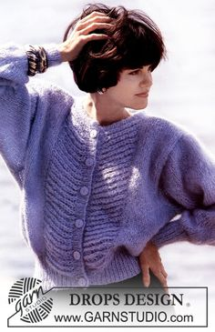 """DROPS jacket in """"Vienna"""" with pattern on front piece. Free pattern by DROPS Design. Cardigan Design, Cardigan Pattern, Drops Design, Sweater Knitting Patterns, Knit Patterns, Vintage Knitting, Free Knitting, Drops Patterns, Big Knits"""