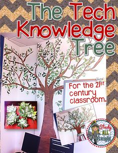 """FREE! The """"Tech Knowledge Tree,"""" Word Wall For the 21st Century Classroom  -from Study All Knight"""