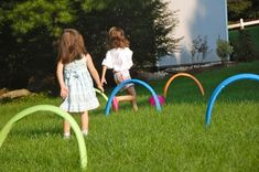 Backyard Obstacle course/soccer croquet from pool noodles and garden stakes. Outdoor Activities For Kids, Fun Activities To Do, Crafts For Kids, Nanny Activities, Fun Games, Croquet Party, Pool Noodle Crafts, Outside Games, Pool Noodles