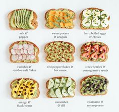 Tasty Takes on Avocado Toast - in case you needed more reasons to eat avocados these ideas. Healthy Recipes, Healthy Snacks, Healthy Eating, Kind Snacks, Tasty Meals, Clean Eating, Good Food, Yummy Food, Avocado Toast