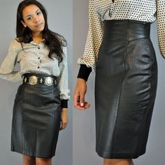 Leather skirt black vintage high-waisted, size 40