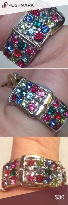 GENUINE Austrian Crystal Buckle Stainless size 7 Brand New! Tag on!  Size 7  Genuine Multi-rainbow colored Swarovski Crystal Stainless Buckle Ring - So pretty- Lists for $119.99 .   🎀🎀Comes with a FREE NEW Thank you gift! Ships to a USA based by with FREE USPS shipping with a tracking # .   🎀🎀PROOF of AUtHENTICITY:  comes with a hologram certificate tag to prove they are authentic  💕💕. #freegift, #freeshipping, #depopfamous, #sale,#crystals, #swarovski #stockingstuffer #christmasgift…