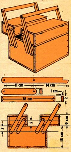 You make this practical toolbox out of two small and one big box held together by 8 arms. You attach the arms to the boxes with standard screws for wood. When you swing the handles outwards the sma...