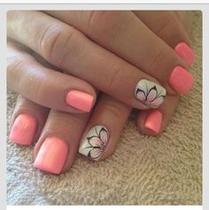 Nails, nail art, nail design, pink, peach, melon, coral, flowers