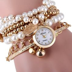 $5.87 Ailisha Multilayer Quartz Chain Watch Beads Pendant Round Dial for Women