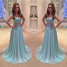 Cheap prom dresses Buy Quality 2 piece prom dresses directly from China prom dresses Suppliers: 2 Piece Prom Dresses 2017 V Neck Lace Chiffon Light Blue Prom Gown Vestido De Formatura Longo Elegant Long Formal Dresses Pageant Dresses For Teens, Prom Dresses 2017, A Line Prom Dresses, Sexy Dresses, Long Dresses, Blue Dresses, Stylish Dresses, Lace Prom Gown, Lace Evening Gowns