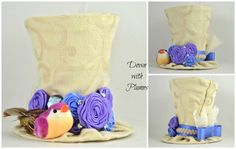 Handmade Tiny Top Hat- Free shipping- Gold, purple and blue mini top hat- Rosette hat with mushroom bird- $35