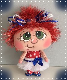 Ooak cloth art doll, mini doll, tiny doll, miniature doll, soft doll, textile doll, mixed media doll, one of a kind, handmade, handmade doll, collectible doll, fabric doll, raggedy ann doll, rag doll, Patriotic, Stars and Stripes, American, 4th of July, Independence Day, green eyes, red hair, eyelash yarn, red white and blue, textile toy