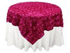 "72""x72"" Grandiose Rosette Table Overlays - Fushia | Tablecloths Factory"