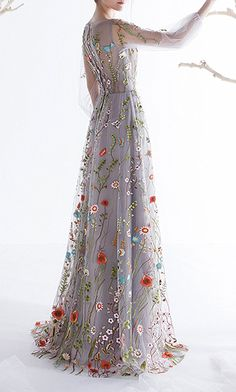 AmazonSmile: Ethel Women's Zipper Back Floral Embroidery Long Sleeves Evening Dresses: Clothing