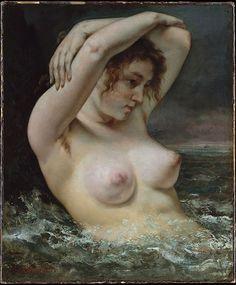La Femme à la vague-1868 Gustave Courbet-Arasse : À mon avis, la première, en tout cas la première qui m'intéresse, c'est la femme dans la vague de Courbet ; elle a les bras levés et on voit sa touffe sous les bras; il y va fort Courbet, comme d'habitude ; l'écume qu'il a jetée sur le corps de la femme, on dirait du sperme, une éjaculation, et il a signé en rouge, juste en dessous. Quel type quand même, ce Courbet!