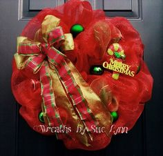 Deco mesh , red and green Christmas wreath.