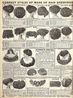 weirdvintage:  Hair Pieces, Fall 1910 Sears Catalogue  Ye olde sock buns.