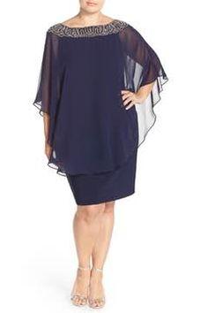 Alternate Image 4 - Xscape Embellished Chiffon Overlay Jersey Sheath Dress (Plus Size)