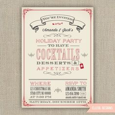 Items similar to Christmas Holiday Party Invitation - Printed or DIY on Etsy Christmas Party Games, Xmas Party, Holiday Parties, Christmas Holidays, Christmas Design, Happy Holidays, Christmas Decor, Christmas Ideas, Merry Christmas