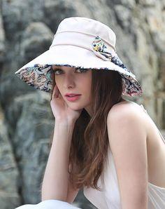 #AdoreWe #VIPme Hats & Caps - Designer Thantrue Camel Floral Printed Bowknot Floppy Sun Hat With Neck Cord - AdoreWe.com