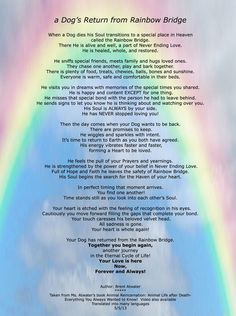 Rainbow Bridge Dog | Dog Rainbow Bridge Poem re a Dog's purpose and journey in animals ...: